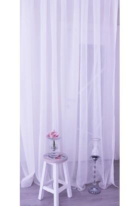 Milano Home Yağmur Efekt Çizgili Tül Perde Kullanıma Hazır Pilesiz Dikim 50x250