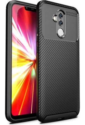 KNY Huawei Mate 20 Lite Kılıf Karbon Desenli Lux Negro Silikon + Cam Ekran Koruyucu