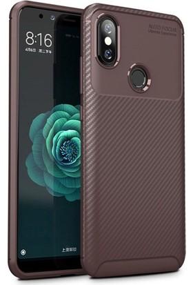 KNY Xiaomi Mi A2 Lite Kılıf Karbon Desenli Lux Negro Silikon + Cam Ekran Koruyucu