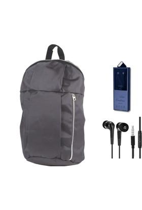 Evocase EVO7002 Notebook Sırt Çantası Gri + Dexim Mikrofonlu Kulakiçi Kulaklık
