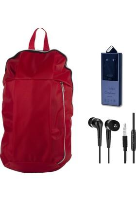 Evocase EVO7004 Notebook Sırt Çantası Kırmızı + Dexim Mikrofonlu Kulakiçi Kulaklık