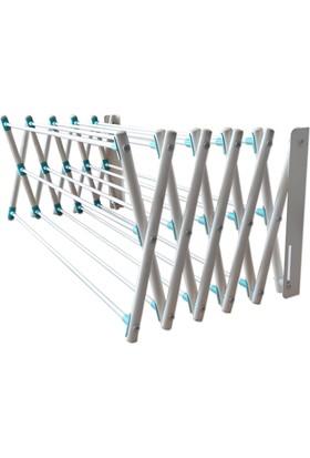Katlanır Akordiyon Duvara Montajlı Çamaşır Askılığı - 15 çubuk / 100cm