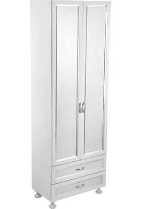 Çelik Ayna CLK646 Büyük 2 Kapaklı 2 Çekmece Şeffaf PVC Dolap