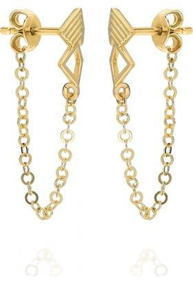 Pink Gold Store Misk Karo Küpe Ta4666 Sarı Altın