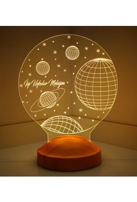 3 Boyutlu Uzay Temalı LED Lamba