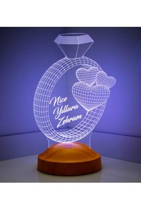 3D Led Lamba Kişiye Özel Yüzük ve Kalpler