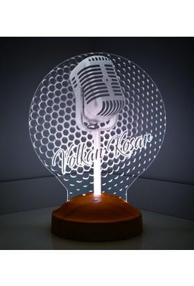 3 Boyutlu Mikrofon LED Foto Lamba