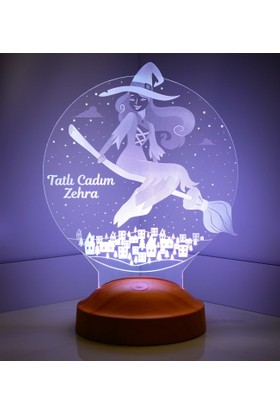 Sevgi Lambası 3D Led Lamba Kişiye Özel Tatlı Cadı