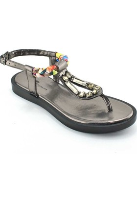 Modabuymus Parmak Arası Taşlı Platin Gri Kadın Sandalet Bellayick