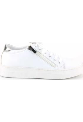 Modabuymus Hakiki Deri Gümüş Detaylı Beyaz Günlük Fermuarlı Kadın Spor Ayakkabı Herzey