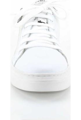b7047d4e547e5 ... Modabuymus Hakiki Deri Gümüş Detaylı Beyaz Günlük Fermuarlı Kadın Spor  Ayakkabı Herzey