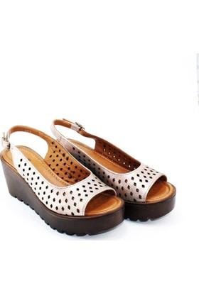Modabuymus Hakiki Deri Delikli Dolgu Tabanlı Rahat Kadın Ayakkabı Sandalet Sedefli Pudra - Wayward