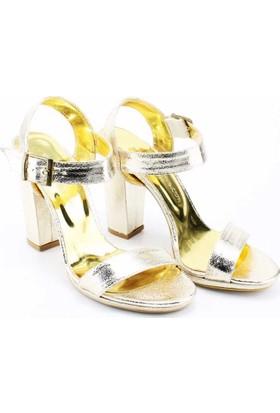 Modabuymus Platform Kalın Yüksek Topuklu Altın Dore Renk Abiye Kadın Ayakkabı - Gusliy