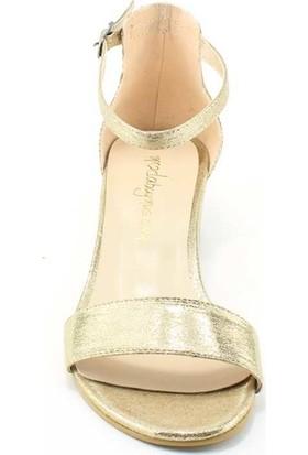 Modabuymus Dore Altın 3 Cm Kısa Topuklu Tek Bant Kadın Ayakkabı