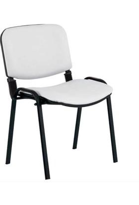 Coşkun Büro/25 Beyaz-Deri Form Sandalye