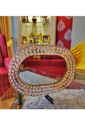 Yargıcı Porselen Dekoratif Gold Metal Gövdeli Kristal Cam Taşlı