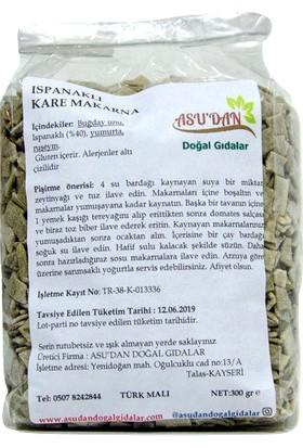 Asudan Doğal Gıdalar Ispanaklı Kare Makarna 300gr