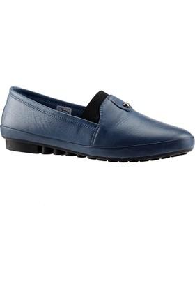 Ayakdaş 6500 Mavi % 100 Deri Ortopedik Kadın Babet Ayakkabı
