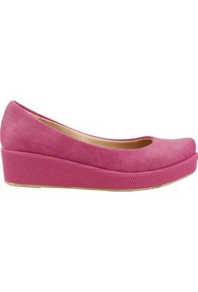 Teceras St470 Fuşya 4 Cm Kalın Topuk Günlük Kadın Babet Ayakkabı