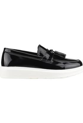 Carrano 103 Siyah Günlük Fiyonklu Erkek Çocuk Rugan Klasik Ayakkabı