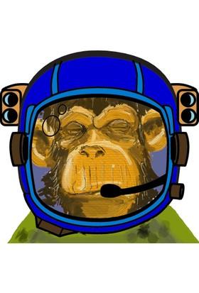 Yaylera Uzay Maymun Temalı Fantastik Kanvas Tablo 50*70 Cm