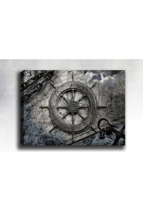 Yaylera Gemi Dümeni Soyut Dekoratif Kanvas Tablo 50*70 Cm