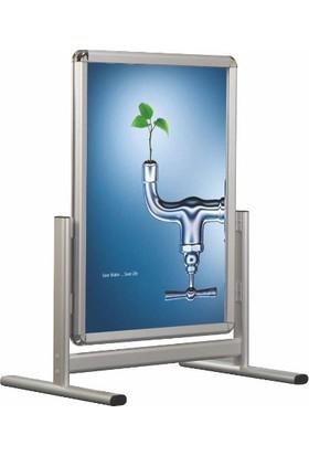 Kıraç Alüminyum Çift Taraflı Kısa Ayak Kaldırım Reklam Poster Pano (70X100)