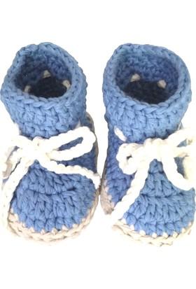 Pacco Baby Gök Mavi Bağcıklı Bootie