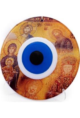 Nazar Boncuğu Ayasofya Mozaikli Dekoratif Duvar Süsü - 23 cm