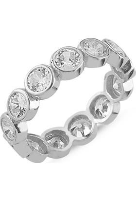 Silverella Gümüş 4Mm Zirkon Taşlı Tamtur Yüzük