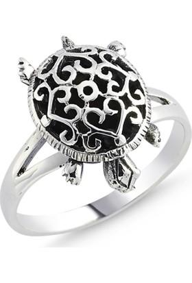 Silverella Gümüş Taşsız Kaplumbağa Desenli Yüzük