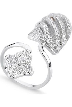 Silverella Gümüş Zirkon Taşlı Tırnak Yüzüğü