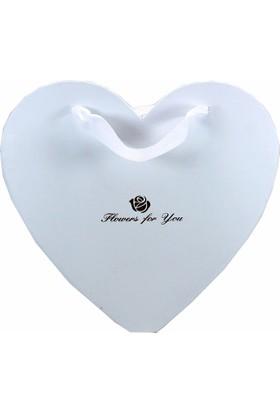 Atd Kalp Kesim Çiçek Kutusu Beyaz