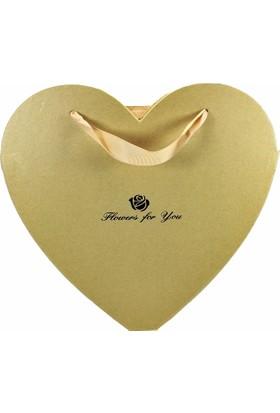Atd Kalp Kesim Çiçek Kutusu Altın