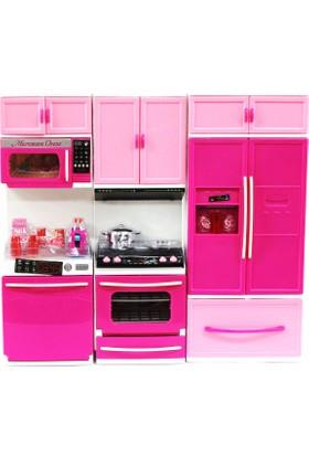Kayyum Oyuncak Mutfak Seti 3'lü Buzdolaplı Sesli Işıklı Tüm Kapakları Açılır Kapanır
