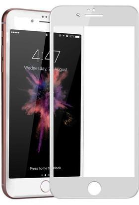 Engo Apple iPhone 8 Plus 5D 9H Kavisli Tam Korumalı Temperli Ekran Koruyucu Cam Beyaz