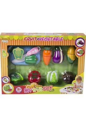 Furkan Kesme Tahtalı Oyuncak Meyve Sebze Kesme Seti - 18 Parça Sebze Seti