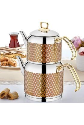 Sıla No:2 Hüma Dekorlu Gold Çaydanlık