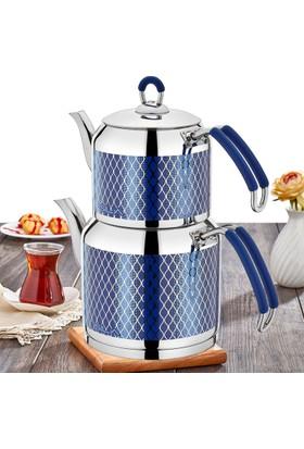 Sıla No:1 558 Sedef Dekorlu Çaydanlık Mavi
