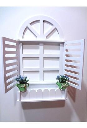 Ahşap Mdf Dekoratif Pencere Foto Çiçeklik Panjur