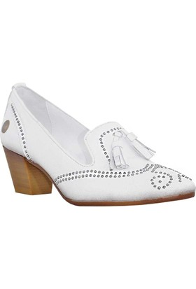 Mammamia D18Ya-3995 Deri Zımbalı Ayakkabı Beyaz
