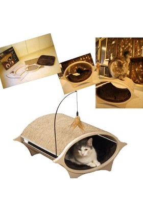 Tırmalamalı İp Oyuncaklı Kapalı Kedi Yatağı