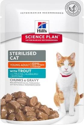 Hill's Science Plan Young Adult Sterilised Cat Alabalıklı Kedi Maması 85g Pouch