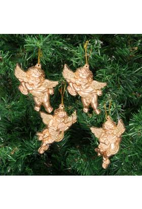 Can Yeni Yıl 4lü Melek Yılbaşı Ağacı Süsü Gold 9x6cm