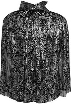 PartiBulutu Örümcek Ağı Desenli Cadı Pelerin Gümüş 75 cm