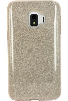Case 4U Samsung Galaxy J2 Core Kılıf Simli Silikon Kılıf Sert Arka Kapak - Shining - Altın