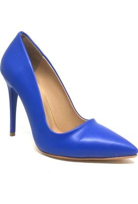 Shop And Shoes 164-2005 Kadın Stiletto Saks Mavi