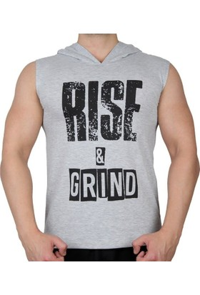 Supplementler Rise&Grind Kapüşonlu Kolsuz T-Shirt Gri