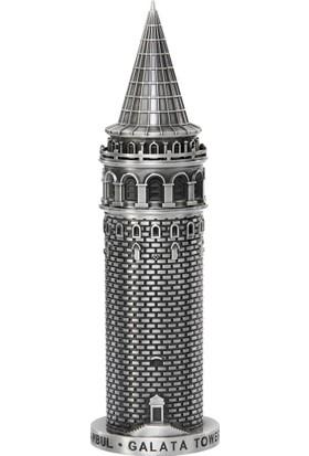 Galata Kulesi Metal Biblo Antik Gümüş (20 cm)