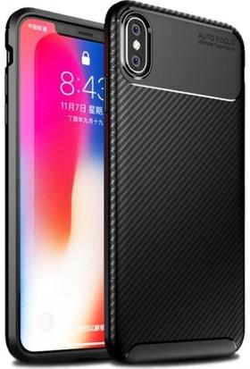 Aplus Apple iPhone X Kılıf Silikon Esnek Karbon Görünümlü Negro Kapak - Siyah